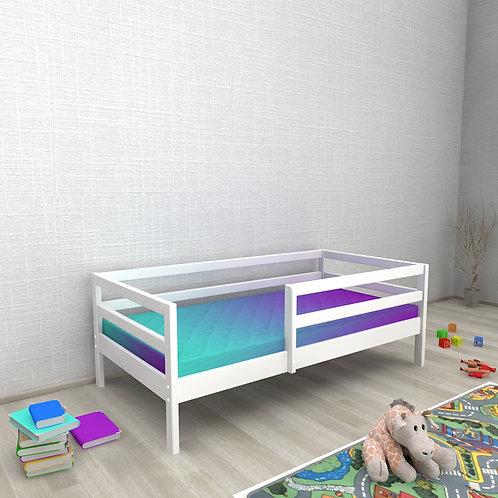 Детская кровать Авеньён (кровать-домик без крыши) С БОРТИКОМ Цвет: БЕЛЫЙ