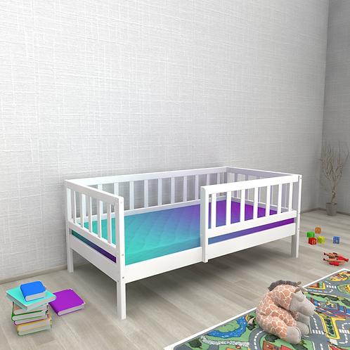 Детская кровать Ницца (кровать-домик без крыши) С БОРТИКОМ Цвет: БЕЛЫЙ