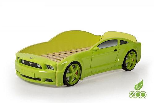 Кровать-машина Мустанг 3D LIGHT МебеЛев (цвет Зелёный)