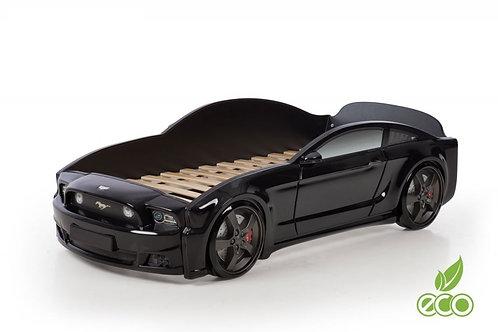 Кровать-машина Мустанг 3D LIGHT МебеЛев (цвет Черный)