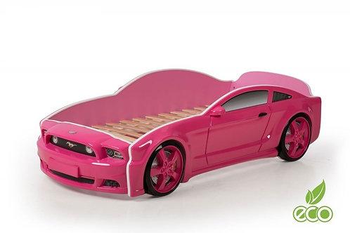 Кровать-машина Мустанг 3D LIGHT МебеЛев (цвет Розовый)