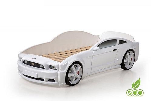 Кровать-машина Мустанг 3D LIGHT МебеЛев (цвет Белый)