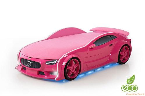 Кровать-машина ВОЛЬВО серия NEO (цвет Розовый)