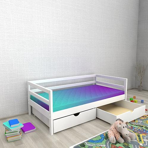 Детская кровать Авеньён (кровать-домик без крыши) БЕЗ БОРТИКА ящики Цвет: БЕЛЫЙ