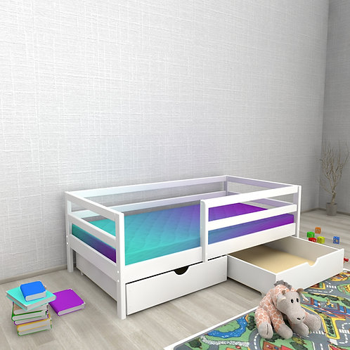 Детская кровать Авеньён (кровать-домик без крыши) С БОРТИКОМ ящики Цвет: