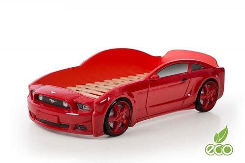 Кровать-машина Мустанг 3D LIGHT МебеЛев (цвет Красный)