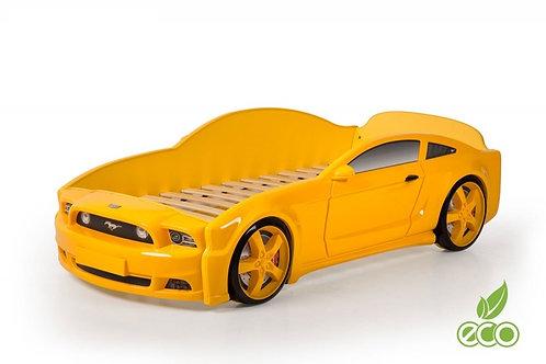 Кровать-машина Мустанг 3D LIGHT МебеЛев (цвет Желтый)
