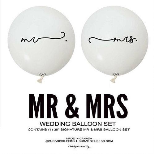 "MR & MRS - 36"" White Balloon Set"