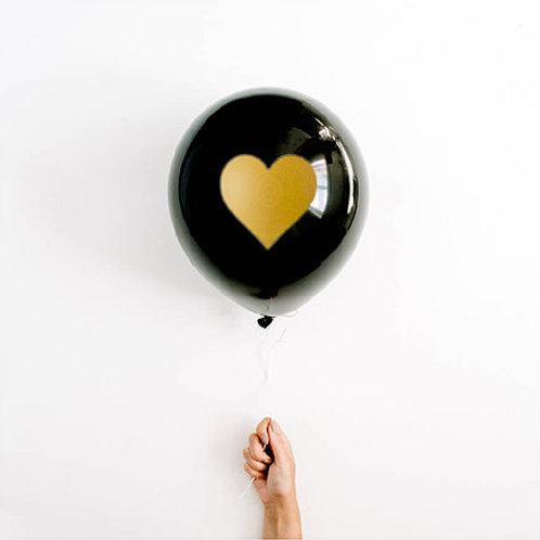 BLACK & GOLD HEART BALLOON