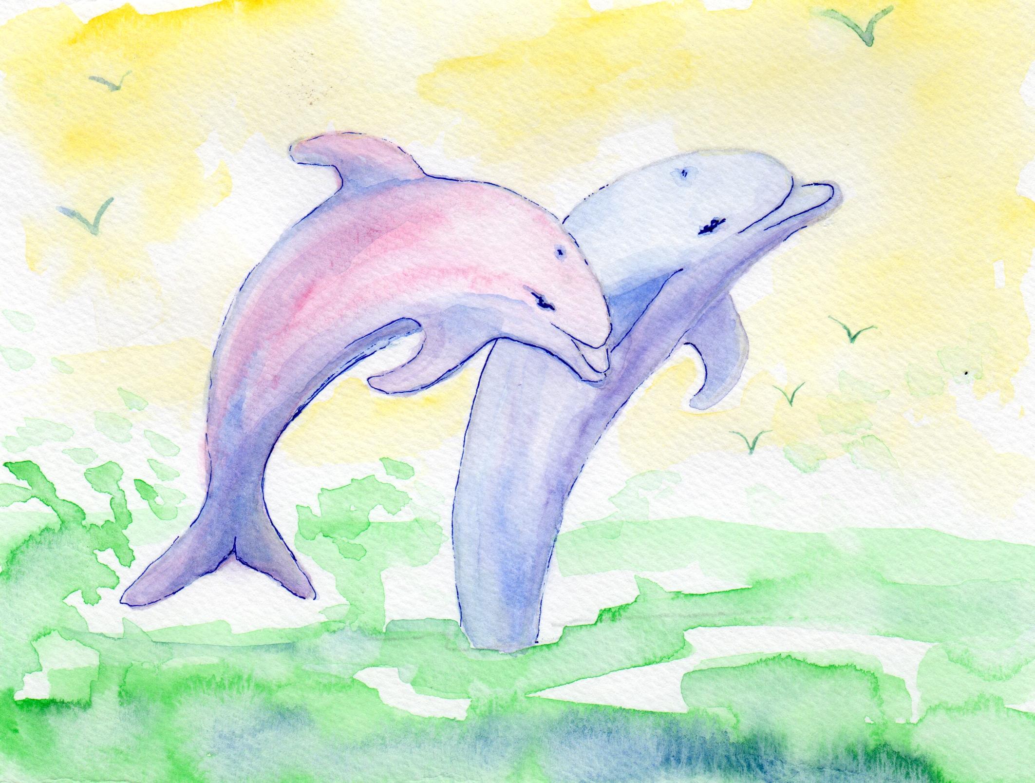 Jumping Dolphins by Elizabeth Oertel