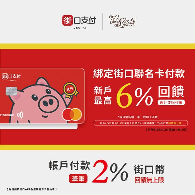 綁定街口聯名卡付款,新戶最高6%回饋!(再享店家5%街口幣回饋無上限)