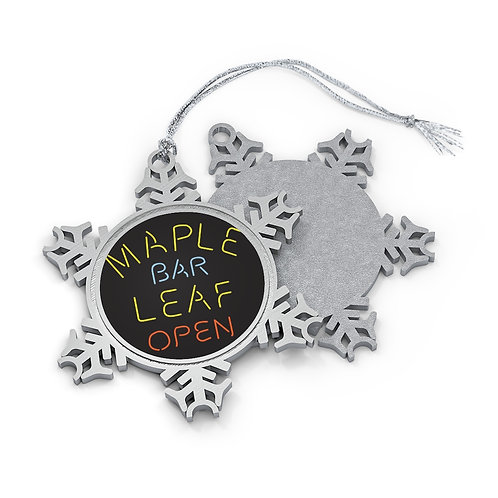 Maple Leaf Bar Open Pewter Snowflake Ornament