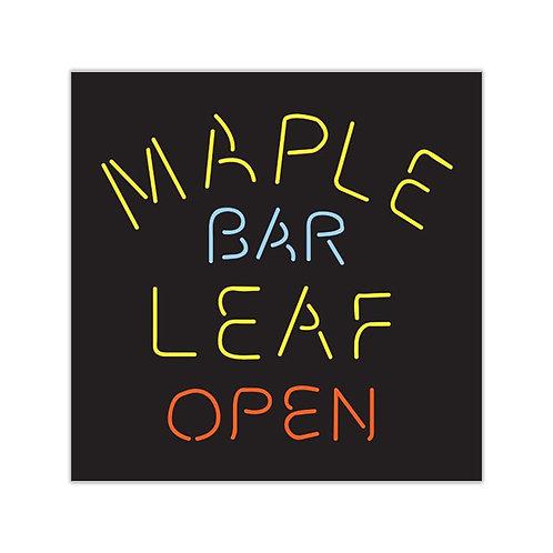 Maple Leaf Bar Open Square Vinyl Sticker