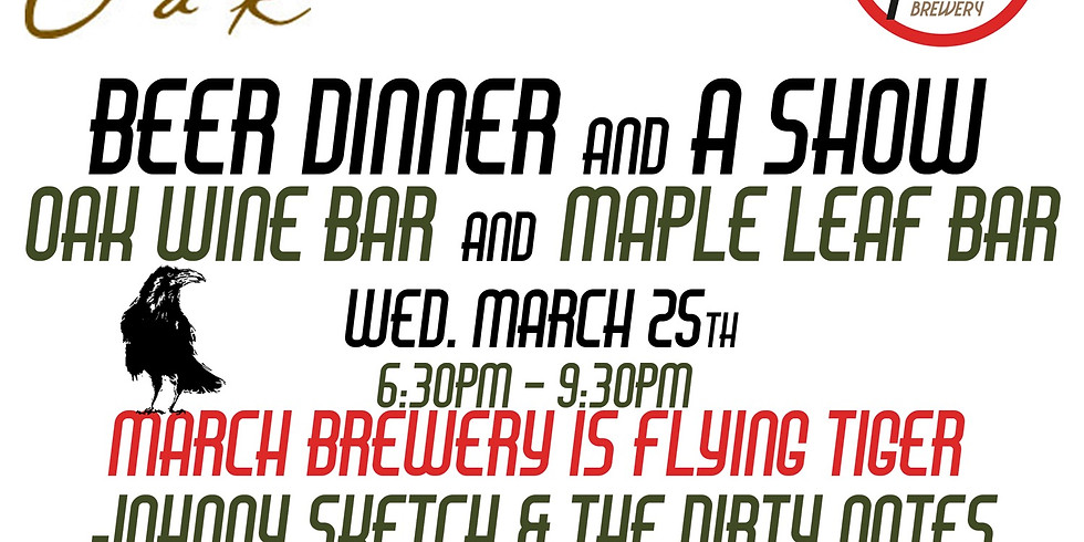 CANCELLED:  Flying Tiger Brewery: Beer Dinner & A Show 6:30pm $55 Adv $60 Door