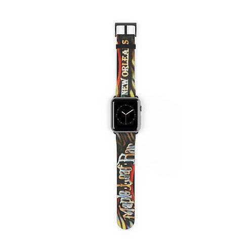 Maple Leaf Bar Faux Leather Watch Band