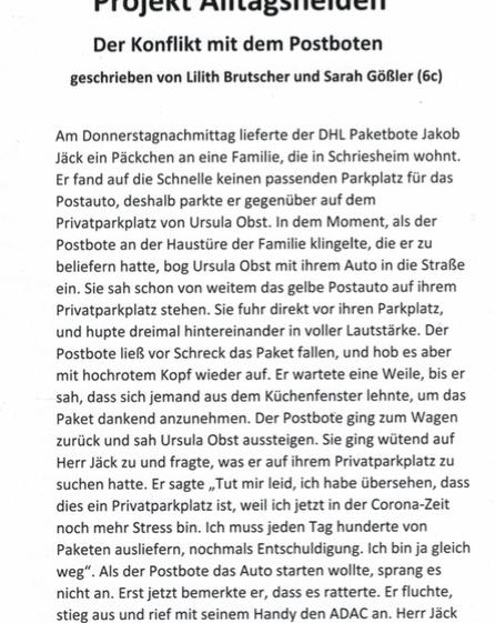 """""""Der Konflikt mit dem Postboten"""" von Lilith B. und Sarah G."""