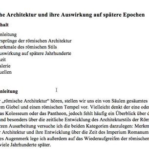 Hausarbeit zur Römischen Architektur von Simon S
