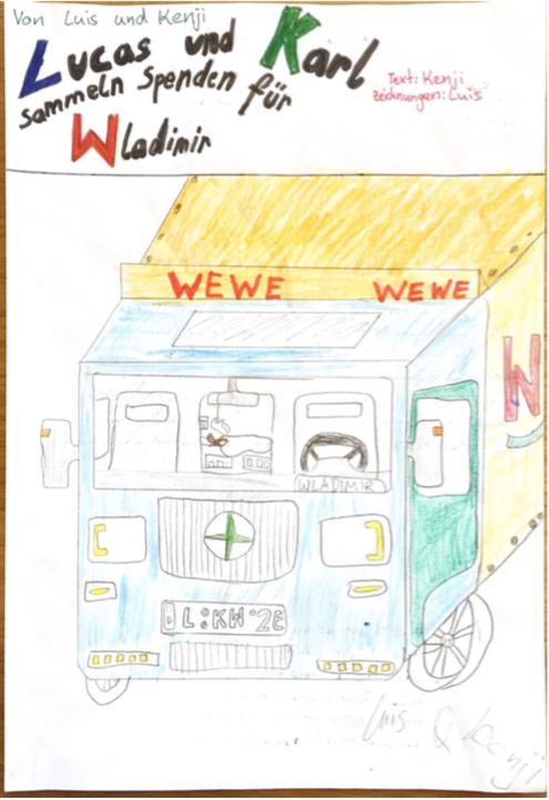 """""""Lucas und Karl sammeln Spenden für Wladimir"""" von Luis C. und Kenji K."""
