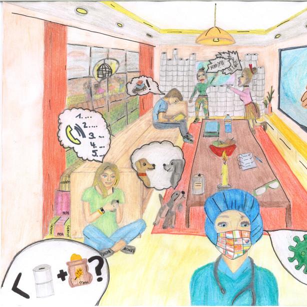 Illustration einer Familie im Lockdown von Constance G.