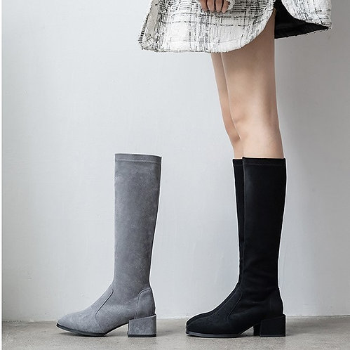 超級顯瘦絨面長boots