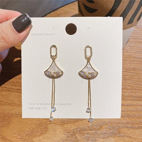 925銀針扇形鋯石耳環-A