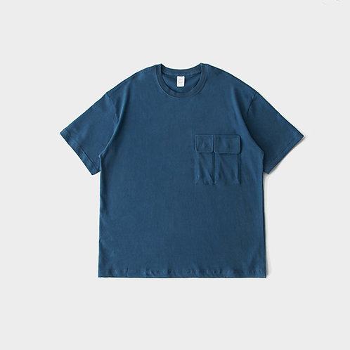 日系雪花絨小領口寬鬆T恤-A