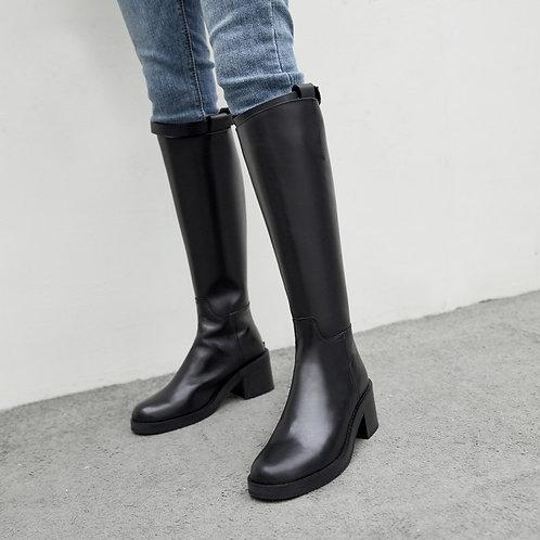 牛皮圓頭拉鏈騎士靴-A