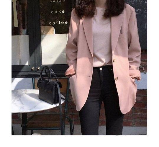 復古粉紅色西裝外套-D