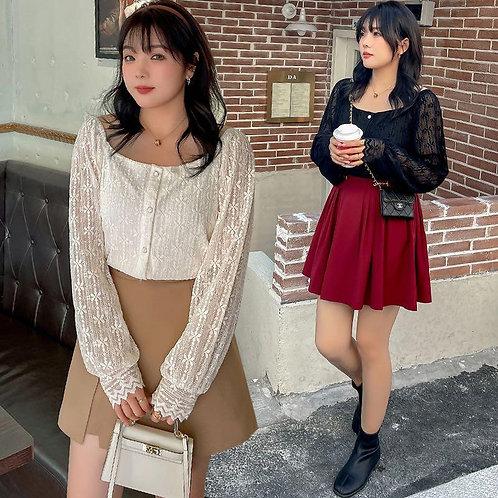 韓國秋季plus size蕾絲上衣