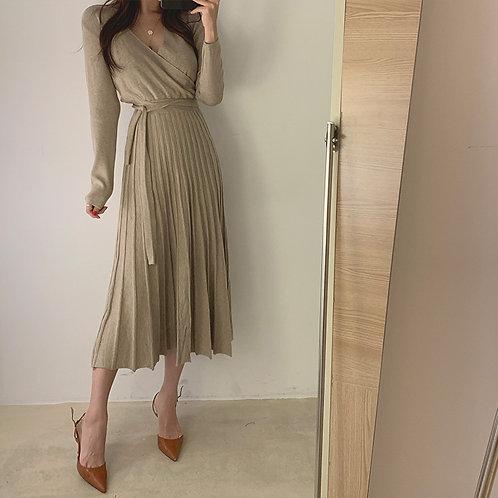 綁帶針織連身裙-A