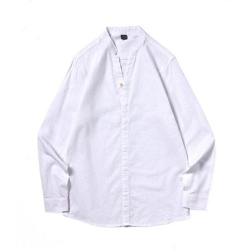 韓國棉麻立領襯衫-A