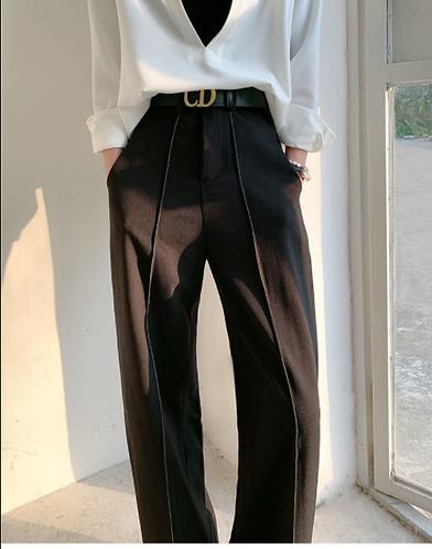 高腰垂直直筒西裝褲-D(加絨版)