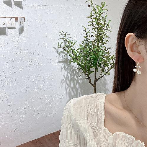 925銀針小櫻桃貝殼耳環-A