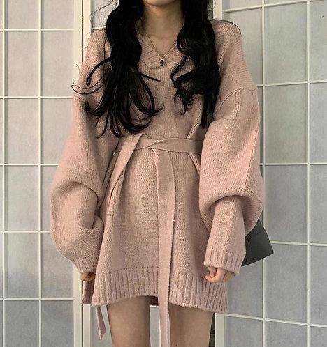 韓國寬鬆長襯衫+寬鬆V領針織裙-D