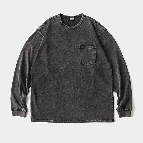 日系寬鬆小領口蠟染T恤-A