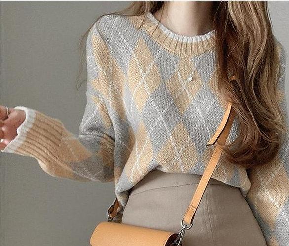 菱格針織衫-D
