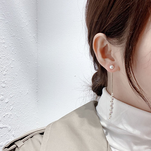 925銀針珍珠鋯石耳線-A