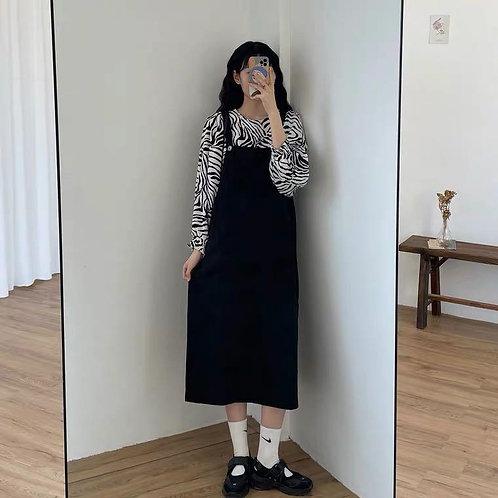 斑馬紋襯衣/黑色背帶裙