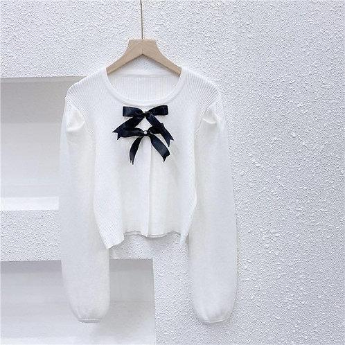 蝴蝶結針織上衣-B