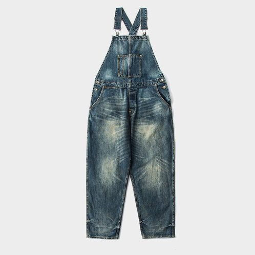 日系手工洗水吊帶牛仔褲-A