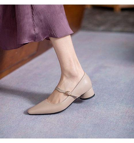 簡約低跟系帶尖頭鞋-A