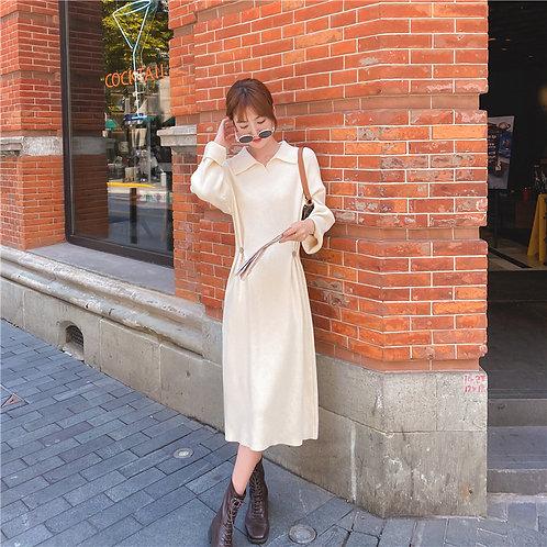 Polo針織連收腰身裙-A