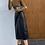 Thumbnail: 復古高腰包臀開叉中長裙-D