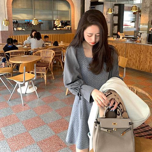 韓國拼接針織連身裙-D