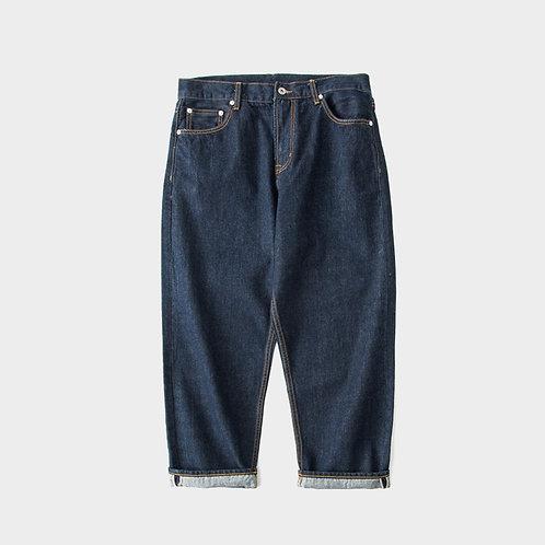 日系闊腳寬鬆九分牛仔褲-A