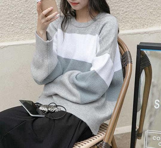 慵懶風條紋針織衫-D
