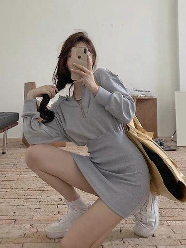 寬鬆衛衣連身裙-B
