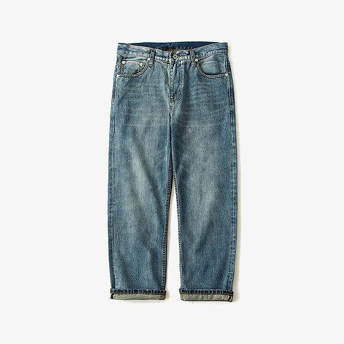 日系寬鬆直筒牛仔褲-A