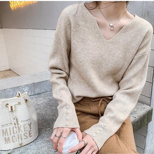 簡約小V領針織衫-A