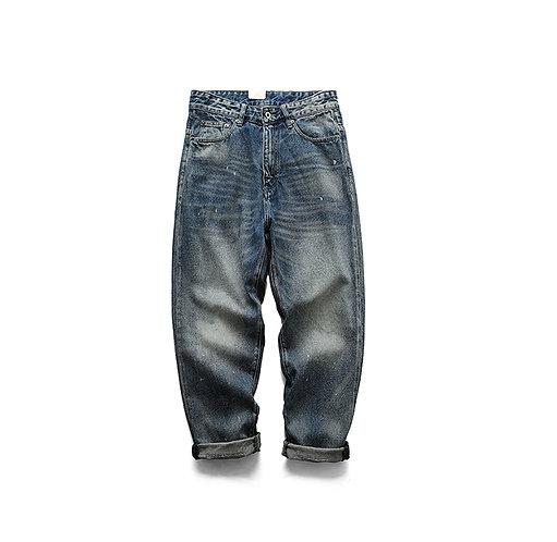 日系潑墨寬鬆直筒洗水牛仔褲-B